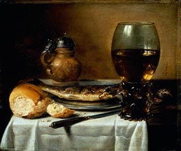 Still Life with Stoneware Jug, Wine Glass, Herring, and Bread, 1642 von Pieter Claesz | Gemälde-Reproduktion