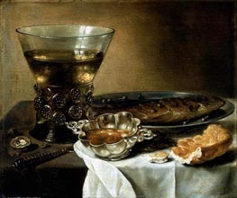 Still Life with Silver Brandy Bowl, Wine Glass, Herring, and Bread, 1642 von Pieter Claesz | Gemälde-Reproduktion