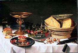 Fruit Still Life with Basket of Cheese, c.1624/25 von Pieter Claesz | Gemälde-Reproduktion