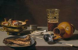 Still Life with Smoking Implements, Herring, and Overturned Jug, 1627 von Pieter Claesz | Gemälde-Reproduktion