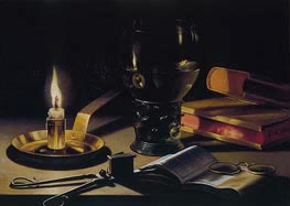 Still Life with Books and Burning Candle, 1627 by Pieter Claesz | Painting Reproduction