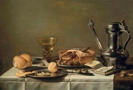 Still Life with Pewter Pitcher, Mince Pie, and Almanac, c.1630 von Pieter Claesz | Gemälde-Reproduktion