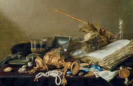 Vanitas Still Life with Overturned Gilded Cup and Chain, c.1630 von Pieter Claesz | Gemälde-Reproduktion