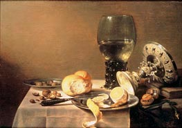 Still Life with Roemer, Tazza and Watch, 1636 von Pieter Claesz | Gemälde-Reproduktion
