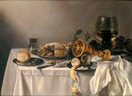 Banquet Piece with Pie, Tazza and Gilded Cup, 1637 von Pieter Claesz | Gemälde-Reproduktion