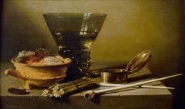 Still Life with Smoking Implements and Berkemeyer, 1638 von Pieter Claesz | Gemälde-Reproduktion