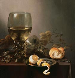 Still Life with Large Roemer, Lemon and Grapes, 1646 von Pieter Claesz | Gemälde-Reproduktion