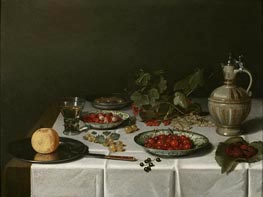 A Breakfast Still Life with Strawberries and Cherries, 1621 von Pieter Claesz | Gemälde-Reproduktion