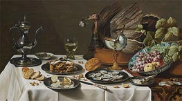 Still Life with Turkey Pie, 1627 by Pieter Claesz | Painting Reproduction