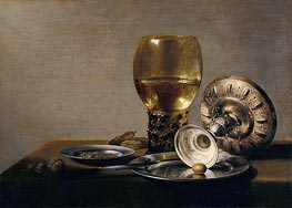 Still Life with Wine Glass and Silver Bowl, undated by Pieter Claesz | Painting Reproduction