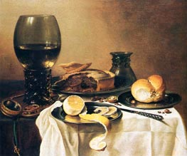 Breakfast Still Life with Roemer, Meat Pie, Lemon and Bread | Pieter Claesz | outdated