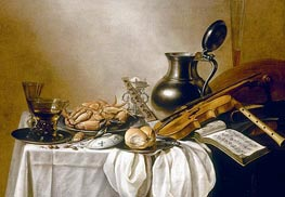 Still Life with a Roemer, Facon-de-Venise Wine Glass | Pieter Claesz | Painting Reproduction