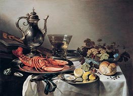 Tafel mit Hummer, Silberkanne, großem Berkemeyer, Früchteschale, Violine und Büchern | Pieter Claesz | Gemälde Reproduktion