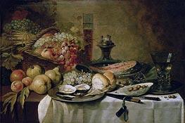 Stillleben mit Lachs | Pieter Claesz | Gemälde Reproduktion