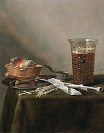 Still Life with a Brazier, a Glass of Beer and a Clay Pipe, 1642 by Pieter Claesz | Painting Reproduction