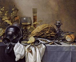 A Still Life with an Overturned Pewter Jug, a Roemer and a Blue Lined Beer Glass | Pieter Claesz | veraltet