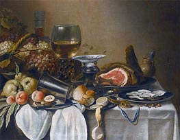 Still Life with a Ham, Fruits, Oysters and Bread | Pieter Claesz | veraltet