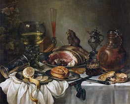 Still Life with a Roemer, Earthenware Jug, Overturned Silver Beaker and a Ham | Pieter Claesz | veraltet