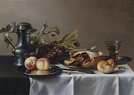 Still Life with Grapes, Pie, Peaches, Pewter Ewer and a Roemer | Pieter Claesz | Gemälde Reproduktion