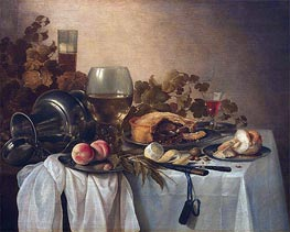 Still Life with Roemer and Pie | Pieter Claesz | Gemälde Reproduktion