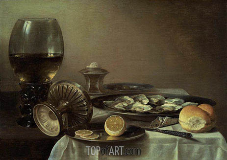 Still Life with Wine Goblet and Oysters, c.1635 | Pieter Claesz| Painting Reproduction