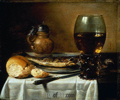 Still Life with Stoneware Jug, Wine Glass, Herring, and Bread, 1642 | Pieter Claesz| Painting Reproduction