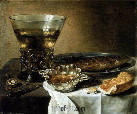Pieter Claesz | Still Life with Silver Brandy Bowl, Wine Glass, Herring, and Bread, 1642
