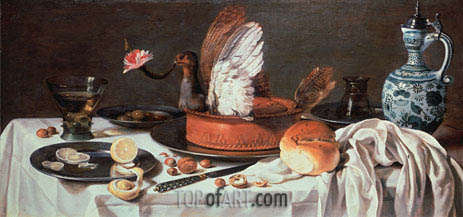 Tabletop Still Life with Pigeon Pie and Delftware Jug, c.1626 | Pieter Claesz | Painting Reproduction