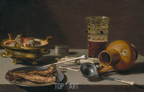 Still Life with Smoking Implements, Herring, and Overturned Jug, 1627 | Pieter Claesz| Painting Reproduction