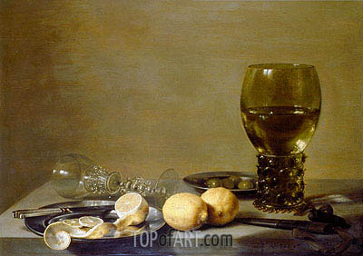 Pieter Claesz | Still Life with Two Lemons, a Facon de Venise Glass, Roemer, Knife and Olives on a Table, 1629