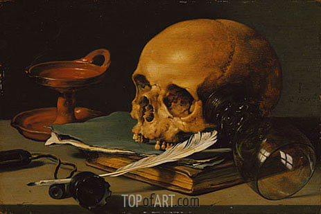 Still Life with a Skull and a Writing Quill, 1628 | Pieter Claesz| Gemälde Reproduktion