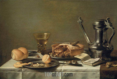 Still Life with Pewter Pitcher, Mince Pie, and Almanac, c.1630 | Pieter Claesz| Painting Reproduction
