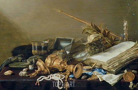 Vanitas Still Life with Overturned Gilded Cup and Chain, c.1630 | Pieter Claesz | Painting Reproduction