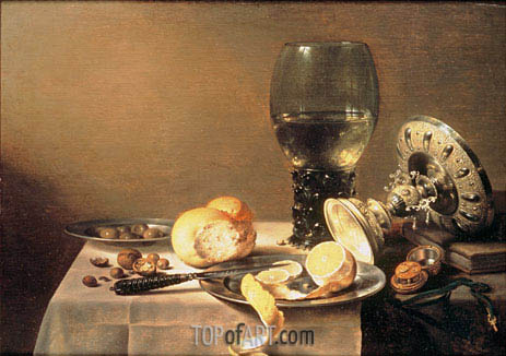 Still Life with Roemer, Tazza and Watch, 1636 | Pieter Claesz| Painting Reproduction