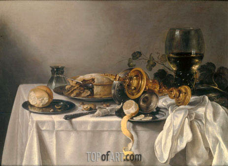 Pieter Claesz | Banquet Piece with Pie, Tazza and Gilded Cup, 1637