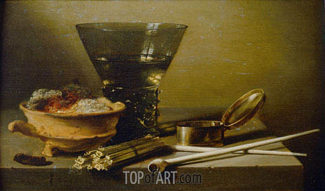 Still Life with Smoking Implements and Berkemeyer, 1638 | Pieter Claesz| Painting Reproduction