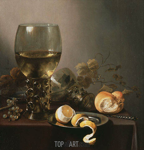 Still Life with Large Roemer, Lemon and Grapes, 1646 | Pieter Claesz | Painting Reproduction