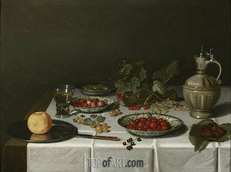 A Breakfast Still Life with Strawberries and Cherries, 1621 | Pieter Claesz| Painting Reproduction