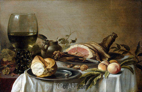 Breakfast with Ham, 1647 | Pieter Claesz| Painting Reproduction
