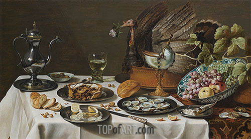 Still Life with Turkey Pie, 1627 | Pieter Claesz| Painting Reproduction
