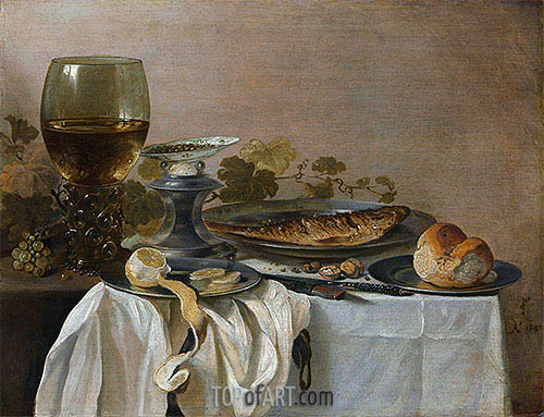 Still Life with Fish, 1647 | Pieter Claesz | Gemälde Reproduktion