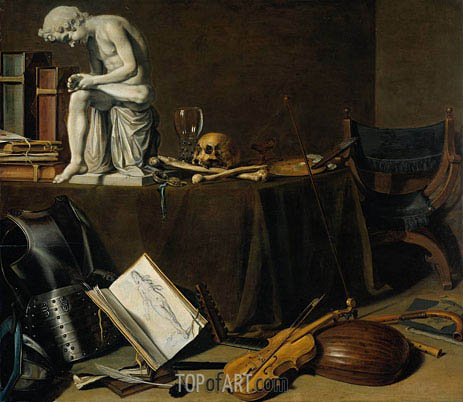 Vanitas Still Life with the Spinario, 1628 | Pieter Claesz | Gemälde Reproduktion