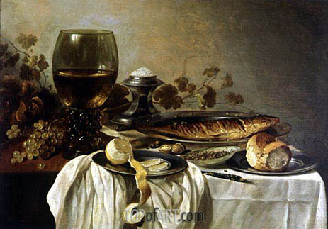 Breakfast, 1646 | Pieter Claesz| Painting Reproduction