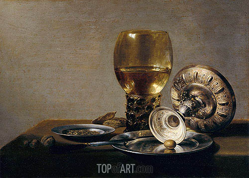 Still Life with Wine Glass and Silver Bowl, undated | Pieter Claesz | Painting Reproduction