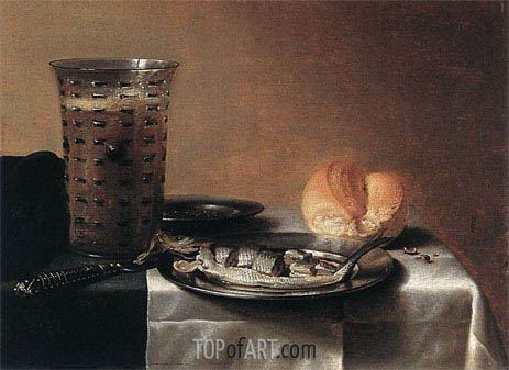 Fish Still Life, 1636 | Pieter Claesz| Painting Reproduction