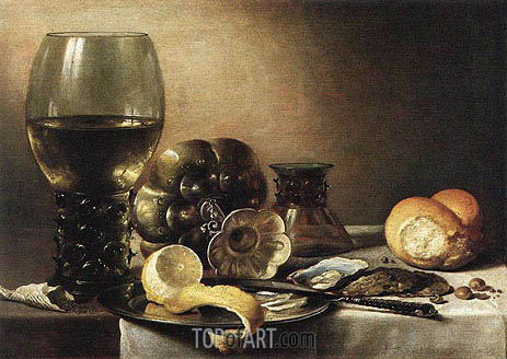 Oyster Breakfast, 1633 | Pieter Claesz | Painting Reproduction