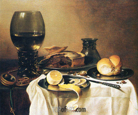 Breakfast Still Life with Roemer, Meat Pie, Lemon and Bread, 1640 | Pieter Claesz | Painting Reproduction