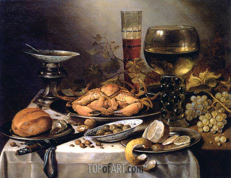 Pieter Claesz | Banquet Still Life with a Crab on a Silver Platter, a Bunch of Grapes, a Bowl of Olives and a Peeled Lemon all Resting on a Draped Table, 1654