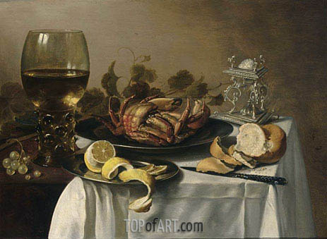 A Still Life with a Roemer, a Crab and a Peeled Lemon on a Pewter Plate, a Bunch of Grapes, a Bun and Knife with an Elaborate Dutch Silver Salt Cellar, on a Draped Table, 1643 | Pieter Claesz| Painting Reproduction
