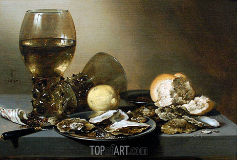 Stil Life with Oysters, 1642 | Pieter Claesz | Painting Reproduction